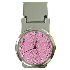 Abstract Pink Squares Money Clip Watches by BangZart