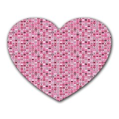 Abstract Pink Squares Heart Mousepads