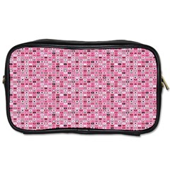 Abstract Pink Squares Toiletries Bags