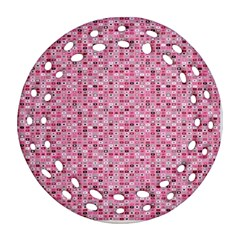 Abstract Pink Squares Round Filigree Ornament (two Sides)