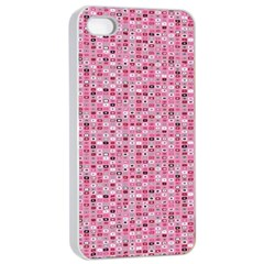 Abstract Pink Squares Apple Iphone 4/4s Seamless Case (white) by BangZart