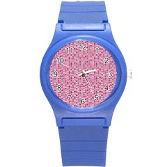 Abstract Pink Squares Round Plastic Sport Watch (s) by BangZart