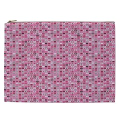 Abstract Pink Squares Cosmetic Bag (xxl)