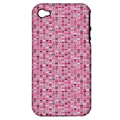 Abstract Pink Squares Apple Iphone 4/4s Hardshell Case (pc+silicone)