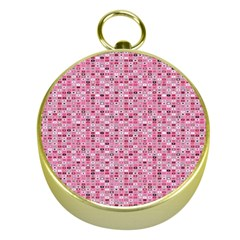 Abstract Pink Squares Gold Compasses