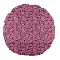Abstract Pink Squares Large 18  Premium Flano Round Cushions by BangZart