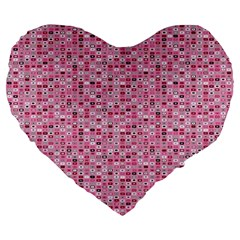 Abstract Pink Squares Large 19  Premium Flano Heart Shape Cushions by BangZart