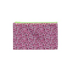 Abstract Pink Squares Cosmetic Bag (xs) by BangZart