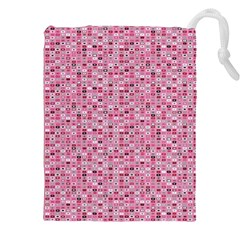 Abstract Pink Squares Drawstring Pouches (xxl)