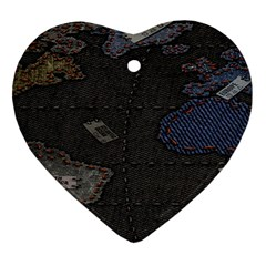 World Map Ornament (heart)