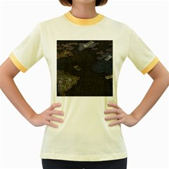 World Map Women s Fitted Ringer T Shirts