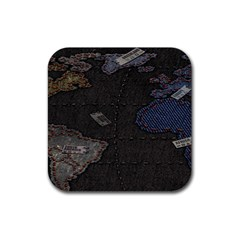 World Map Rubber Square Coaster (4 Pack)  by BangZart