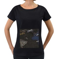 World Map Women s Loose Fit T Shirt (black) by BangZart