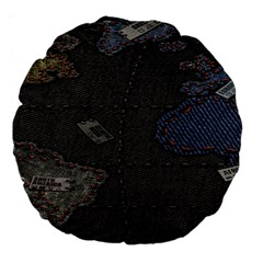 World Map Large 18  Premium Round Cushions by BangZart