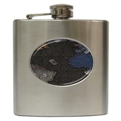 World Map Hip Flask (6 Oz)