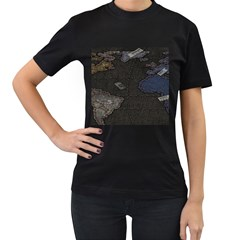 World Map Women s T Shirt (black) by BangZart