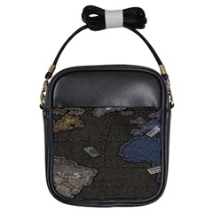World Map Girls Sling Bags by BangZart