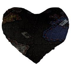 World Map Large 19  Premium Heart Shape Cushions by BangZart