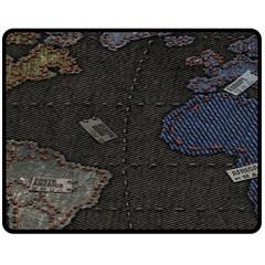 World Map Double Sided Fleece Blanket (medium)  by BangZart