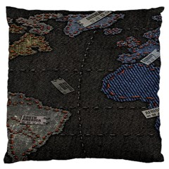 World Map Large Flano Cushion Case (two Sides) by BangZart