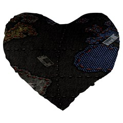 World Map Large 19  Premium Flano Heart Shape Cushions by BangZart