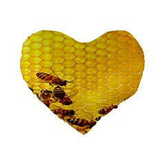 Sweden Honey Standard 16  Premium Flano Heart Shape Cushions by BangZart