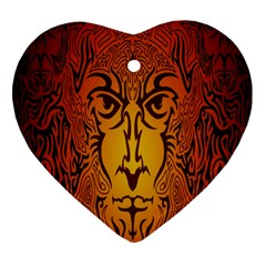Lion Man Tribal Ornament (heart)