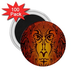 Lion Man Tribal 2 25  Magnets (100 Pack)  by BangZart