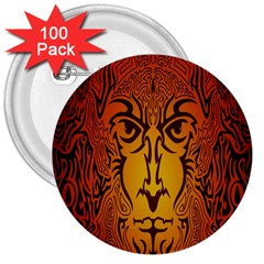 Lion Man Tribal 3  Buttons (100 Pack)  by BangZart