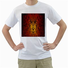Lion Man Tribal Men s T Shirt (white) (two Sided)