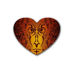 Lion Man Tribal Rubber Coaster (heart)  by BangZart