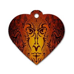 Lion Man Tribal Dog Tag Heart (one Side) by BangZart