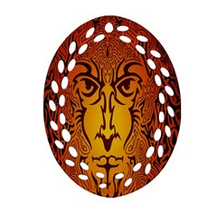 Lion Man Tribal Ornament (oval Filigree)