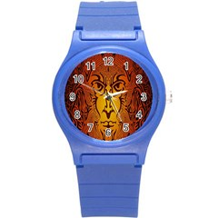 Lion Man Tribal Round Plastic Sport Watch (s) by BangZart
