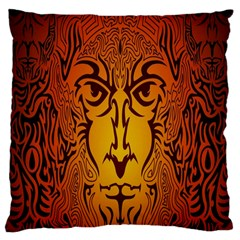 Lion Man Tribal Large Cushion Case (two Sides) by BangZart