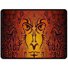 Lion Man Tribal Double Sided Fleece Blanket (large)  by BangZart