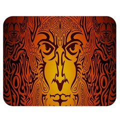 Lion Man Tribal Double Sided Flano Blanket (medium)  by BangZart