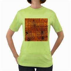 Vector Seamless Pattern With Spider Web On Orange Women s Green T Shirt