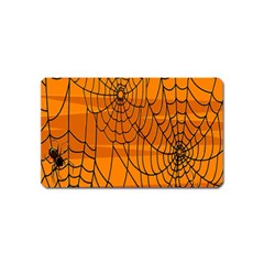 Vector Seamless Pattern With Spider Web On Orange Magnet (name Card) by BangZart