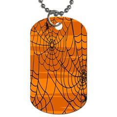 Vector Seamless Pattern With Spider Web On Orange Dog Tag (two Sides)