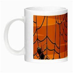 Vector Seamless Pattern With Spider Web On Orange Night Luminous Mugs by BangZart