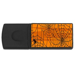 Vector Seamless Pattern With Spider Web On Orange Usb Flash Drive Rectangular (4 Gb) by BangZart