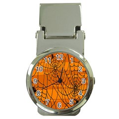 Vector Seamless Pattern With Spider Web On Orange Money Clip Watches by BangZart