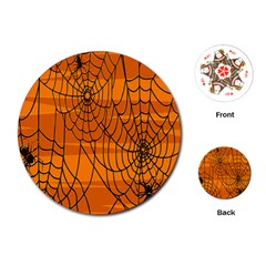 Vector Seamless Pattern With Spider Web On Orange Playing Cards (round)