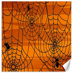 Vector Seamless Pattern With Spider Web On Orange Canvas 12  X 12   by BangZart
