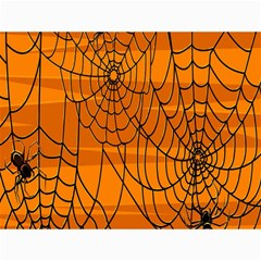 Vector Seamless Pattern With Spider Web On Orange Canvas 12  X 16   by BangZart