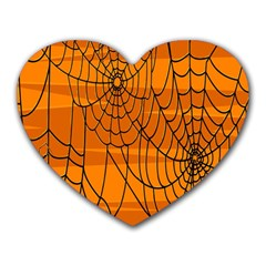 Vector Seamless Pattern With Spider Web On Orange Heart Mousepads