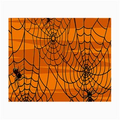 Vector Seamless Pattern With Spider Web On Orange Small Glasses Cloth (2 Side) by BangZart