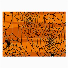 Vector Seamless Pattern With Spider Web On Orange Large Glasses Cloth by BangZart