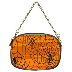 Vector Seamless Pattern With Spider Web On Orange Chain Purses (two Sides)